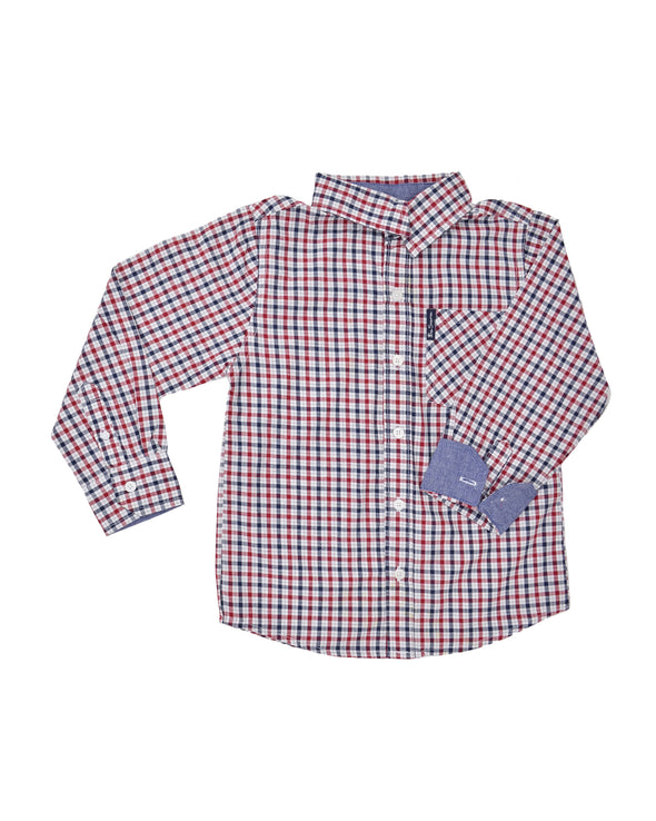 Boys' Red & Blue Gingham Plaid Yarn Dyed Shirt (Sizes 4-7)