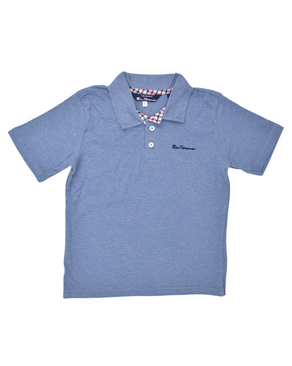 Boys' Short-Sleeve Polo Shirt - Blue (Sizes 8-18)