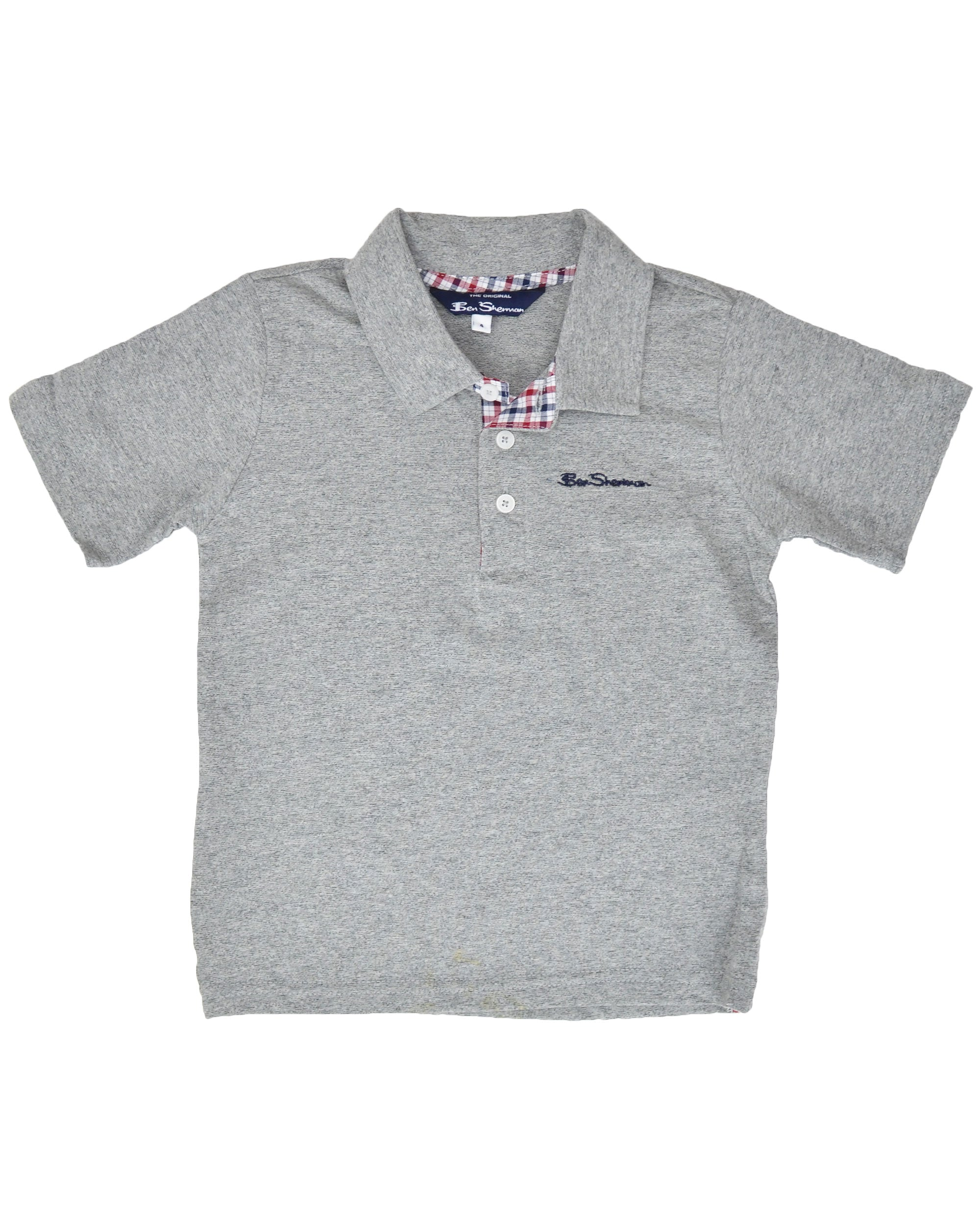 Boys' Short-Sleeve Polo Shirt - Heather Grey (Sizes 8-18)