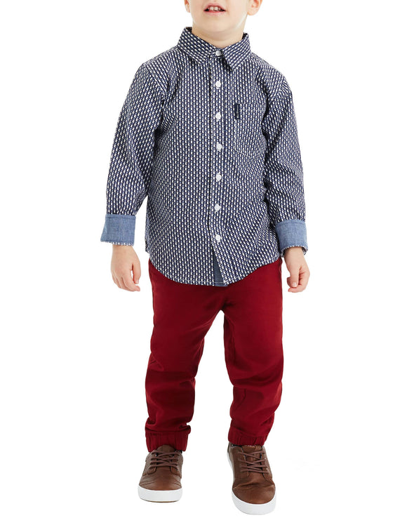 Boys' Blue Long-Sleeve Button-Down Shirt & Red Pant Set (Sizes 4-7)