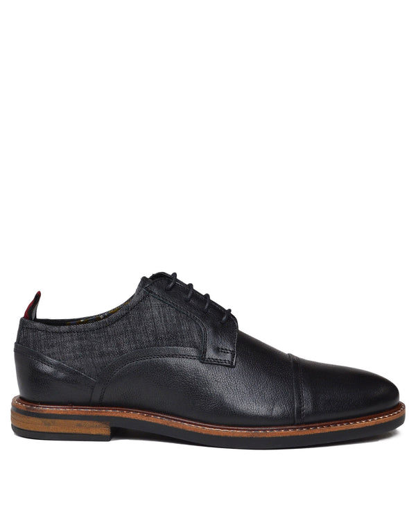 Birk Leather/Denim Cap-Toe Derby - Black/Black