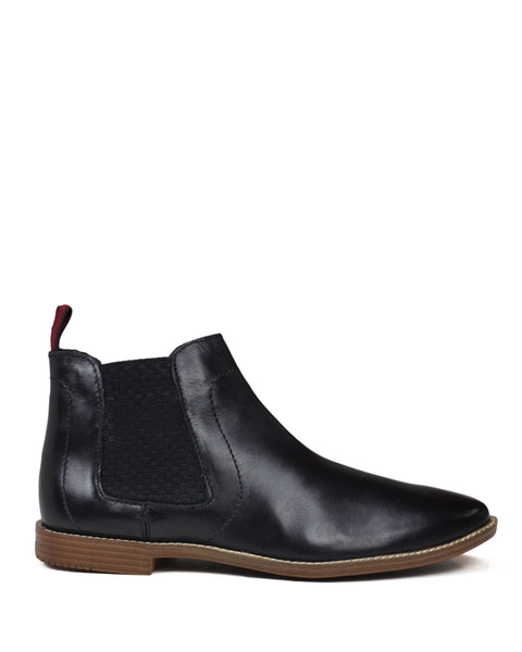 Gaston Chelsea Boot with Elastic Gore - Black