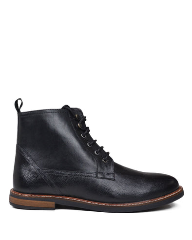 Birk Plain-Toe Leather Lace-up Boot - Black