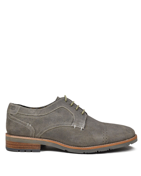 Rugged Distressed Oiled-Leather Derby - Grey