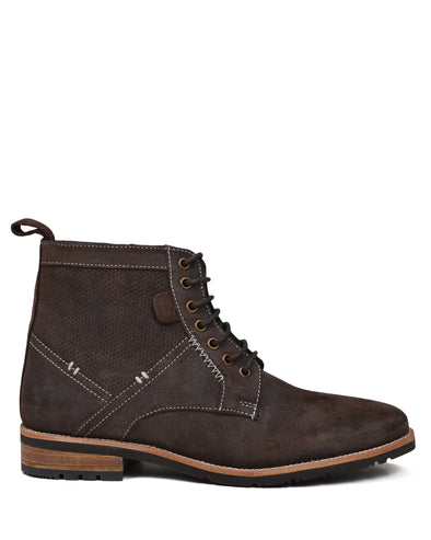 Rugged Perf Distressed Oiled-Leather Boot - Brown
