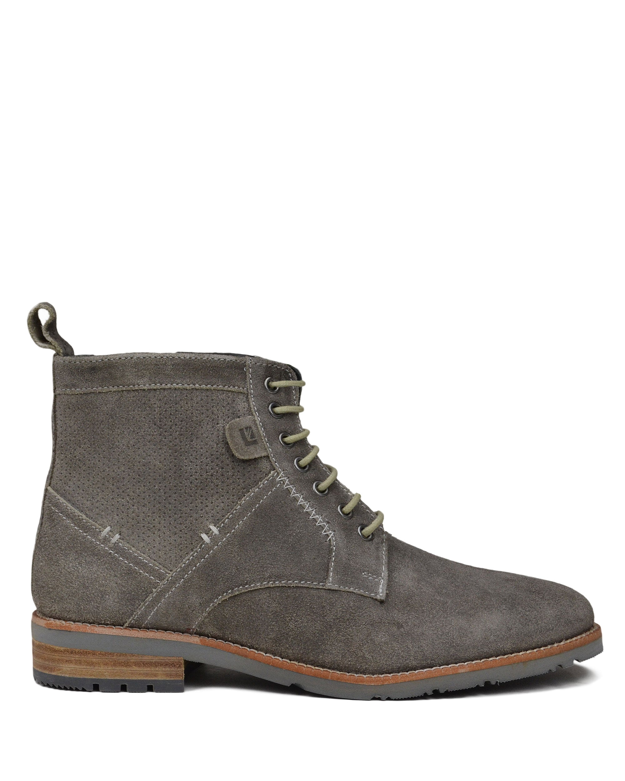 Rugged Perf Distressed Oiled-Leather Boot - Grey