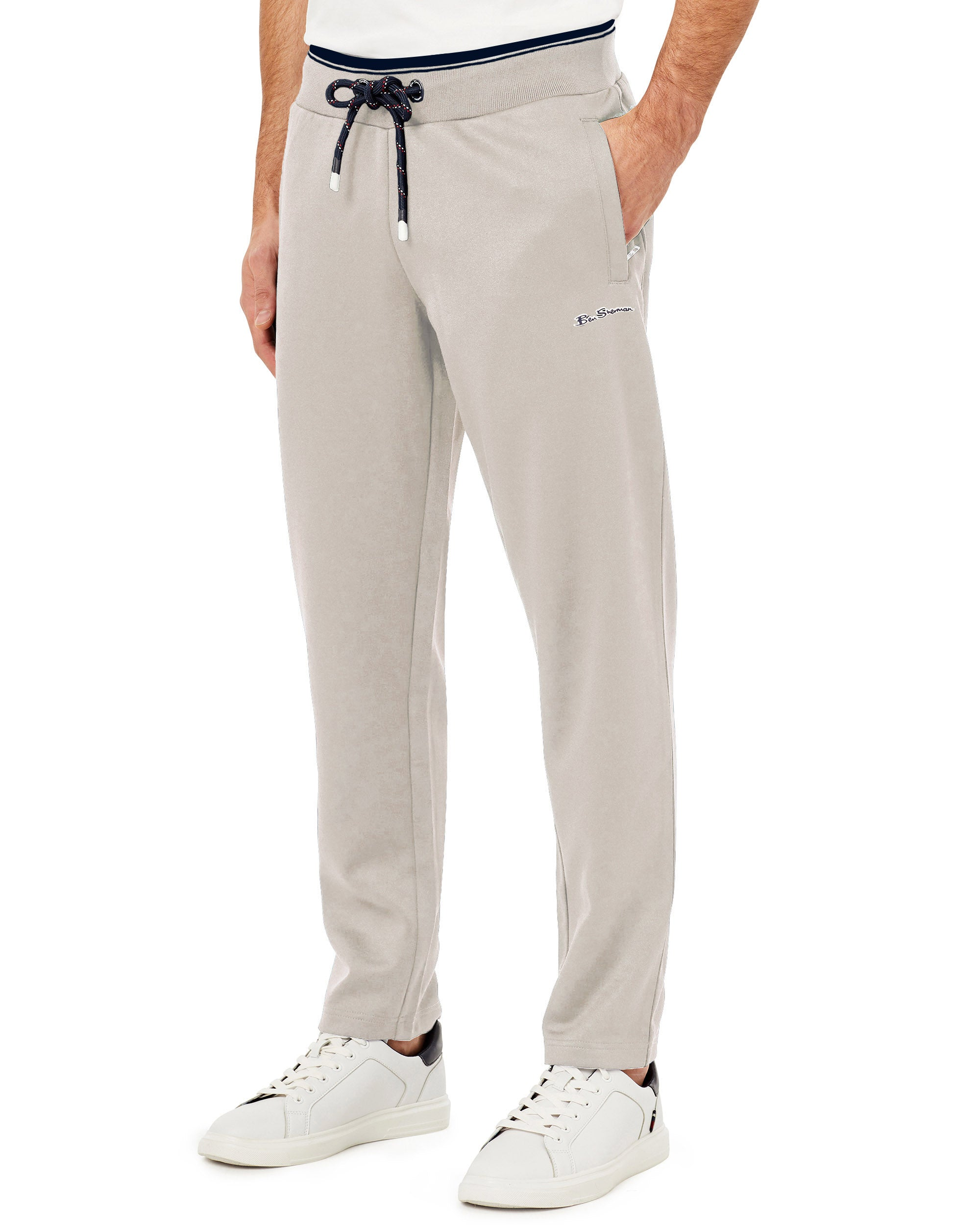 Drawcord Stripe Track Pant - Heathered Grey