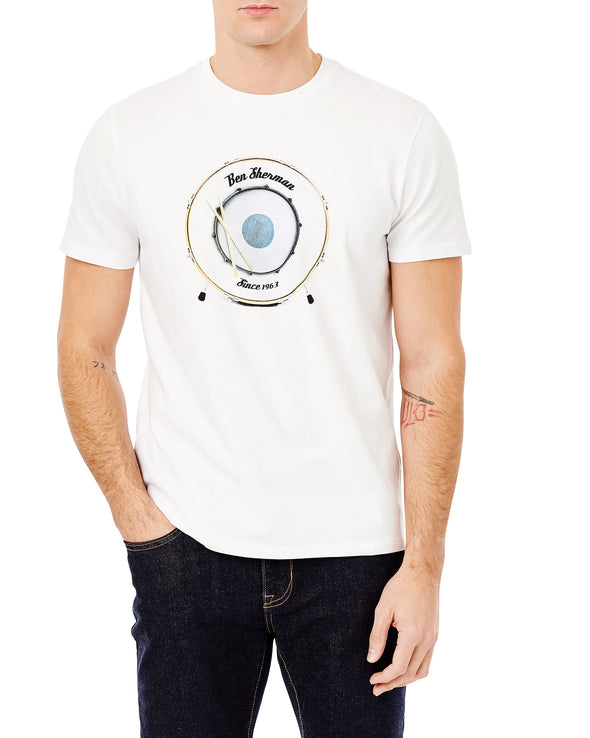 Drum Target Graphic T-Shirt - Bright White