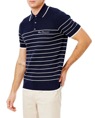 Short-Sleeve Textured Stripe Knit Polo - Navy Blazer