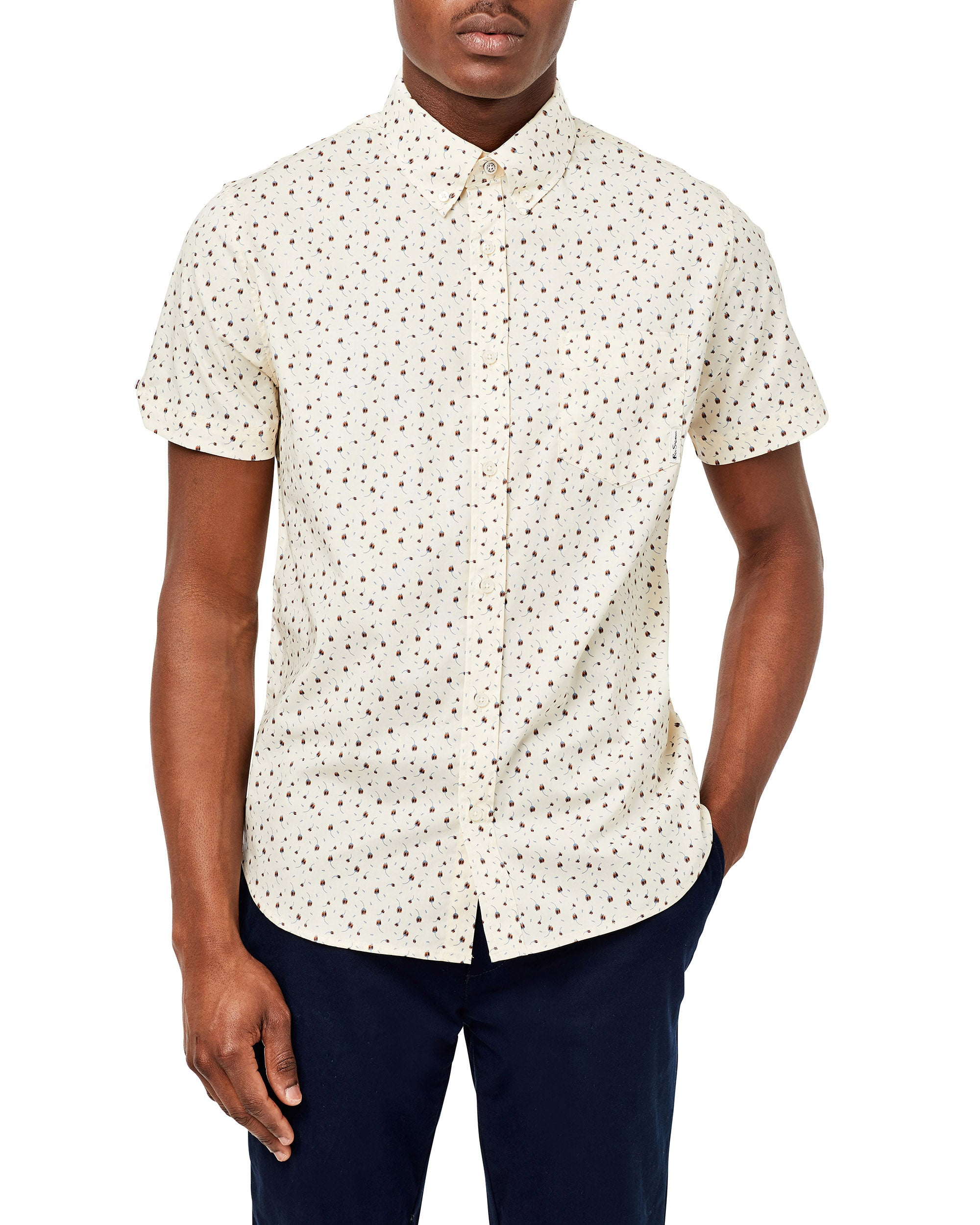 Short-Sleeve Dash-Print Shirt - Ivory