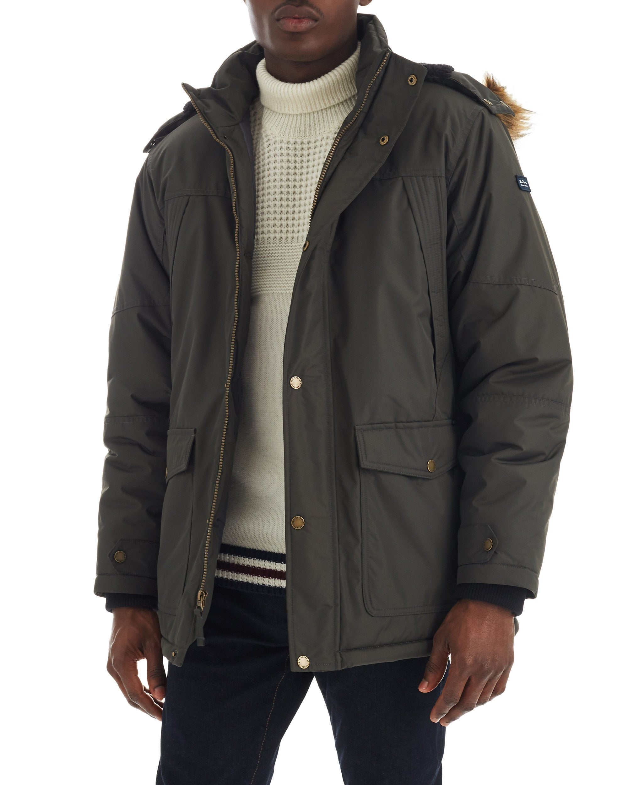 Men's Heavy Snorkel Coat with Faux Fur Hood - Olive