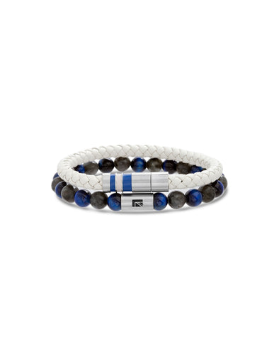 Blue Tiger's Eye Beaded Braided Leather Bracelet