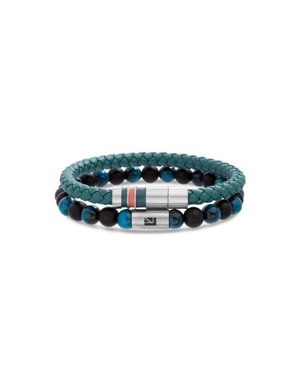 Teal Tiger's Eye Beaded Braided Leather Bracelet