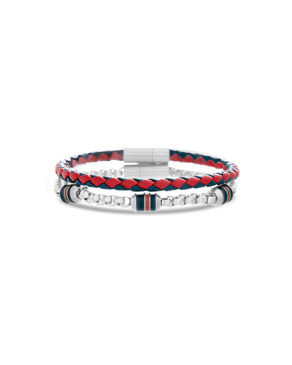 Multicolored Red & Black Braided Leather Bracelet