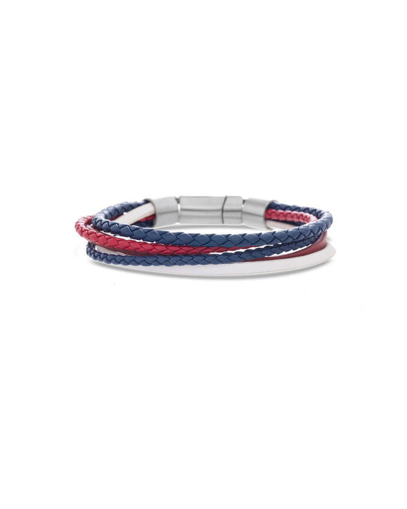 2 Blue & 1 Red Braided Leather Bracelet