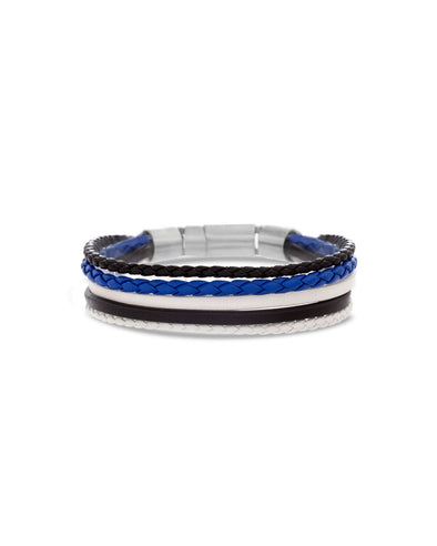 1 Black, 1 Blue & 1 Red Braided Leather Bracelet