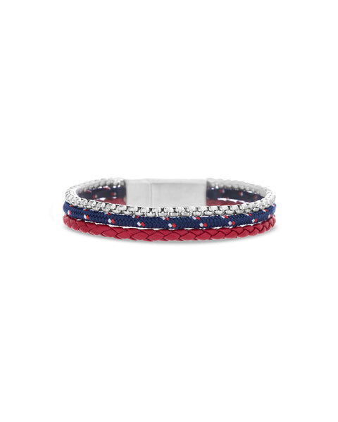 Red Braided Leather, Blue Cord Bracelet