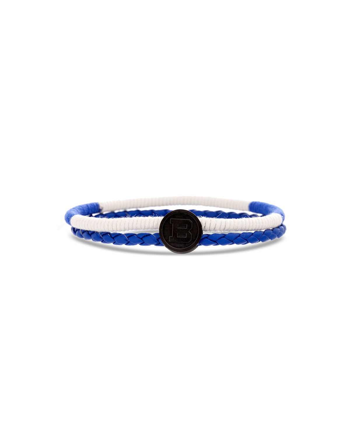 Blue Braided Leather, Blue & White Cord Bracelet