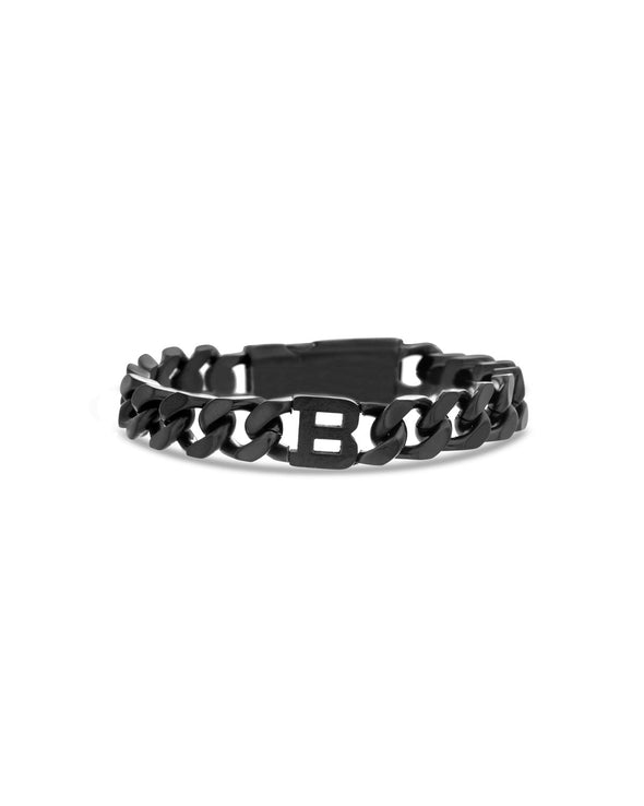 "Steel ""B"" Station Curb Chain Bracelet"