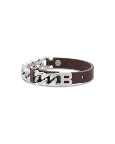 "Brown Leather w/ ""B"" Curb Chain Bracelet"