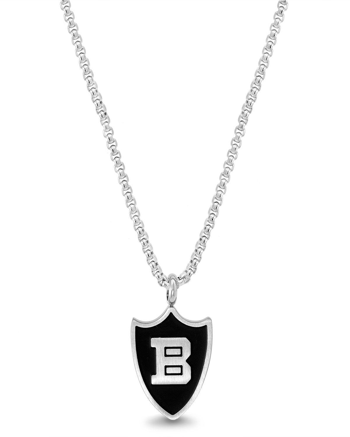 "Black Enamel Shield w/ ""B"" Rolo Chain Necklace"