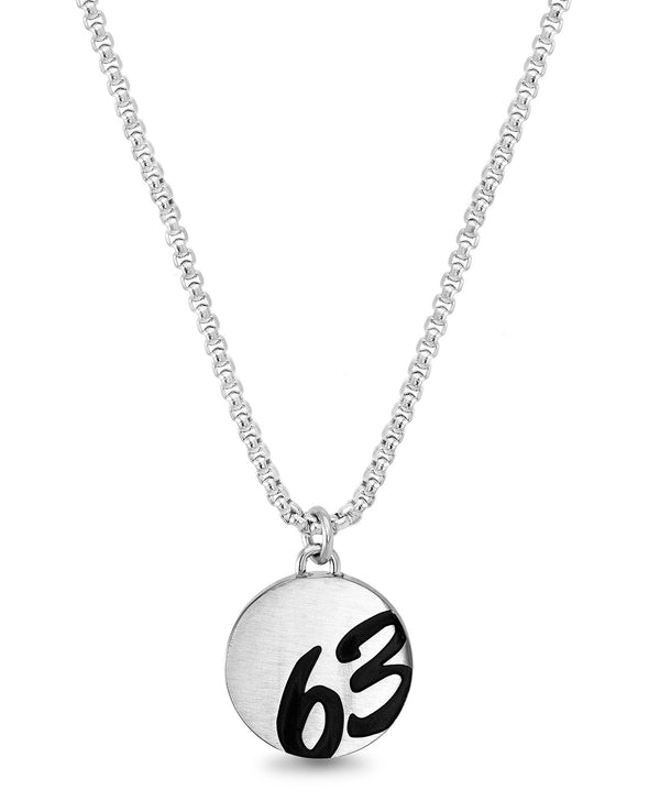 "Black Enamel ""63"" Circle Rolo Chain Necklace"
