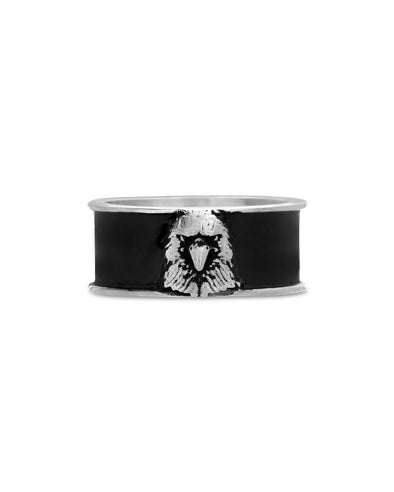 Steel Black Enamel Eagle Head Ring