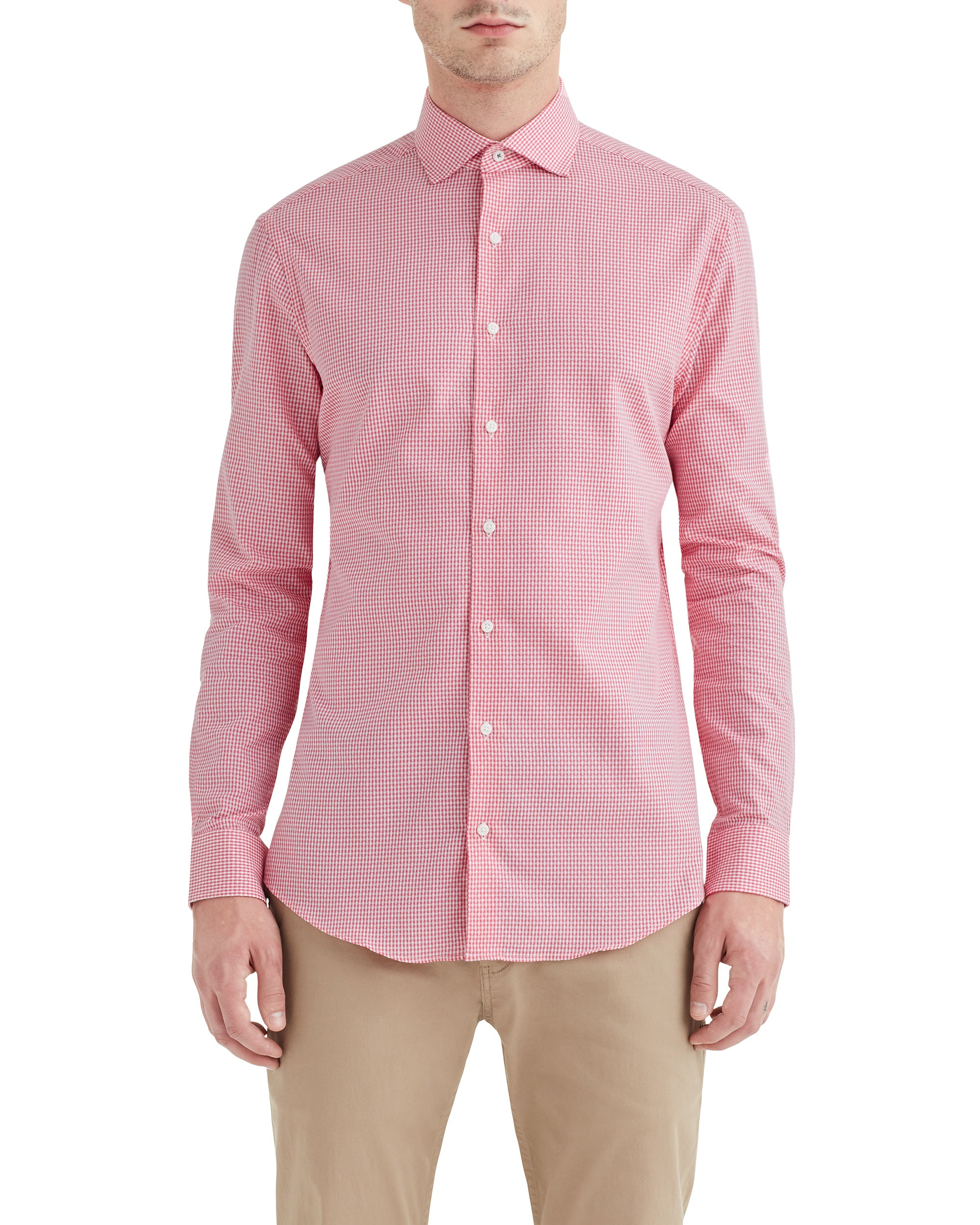 Coral Dobby Gingham Slim-Fit Dress Shirt