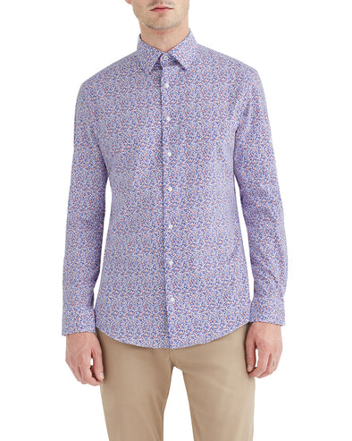 Stretch Multi Abstract Print Slim Fit Dress Shirt