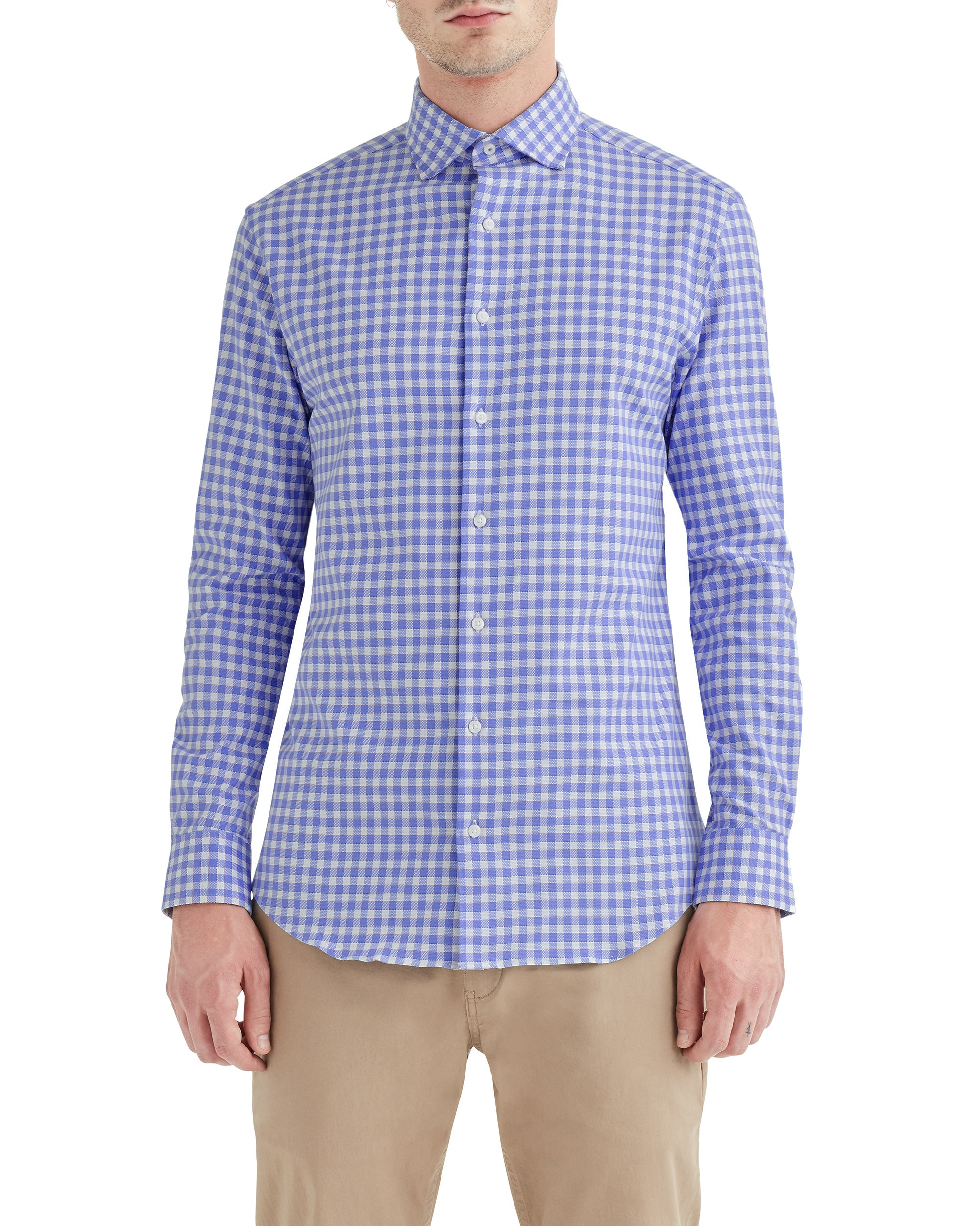 Stretch Blue and Orange Dobby Gingham Slim Fit Dress Shirt
