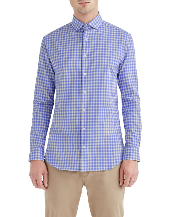 Stretch Blue and Orange Dobby Gingham Slim-Fit Dress Shirt