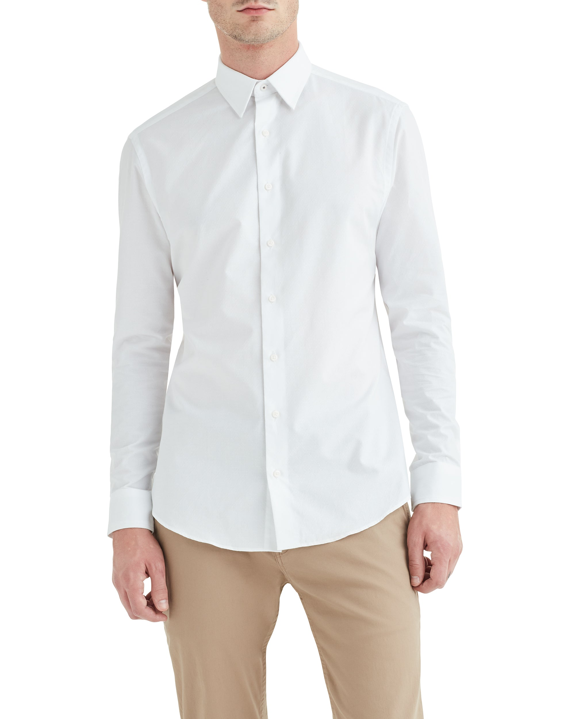 White Argyle Dobby Slim-Fit Dress Shirt