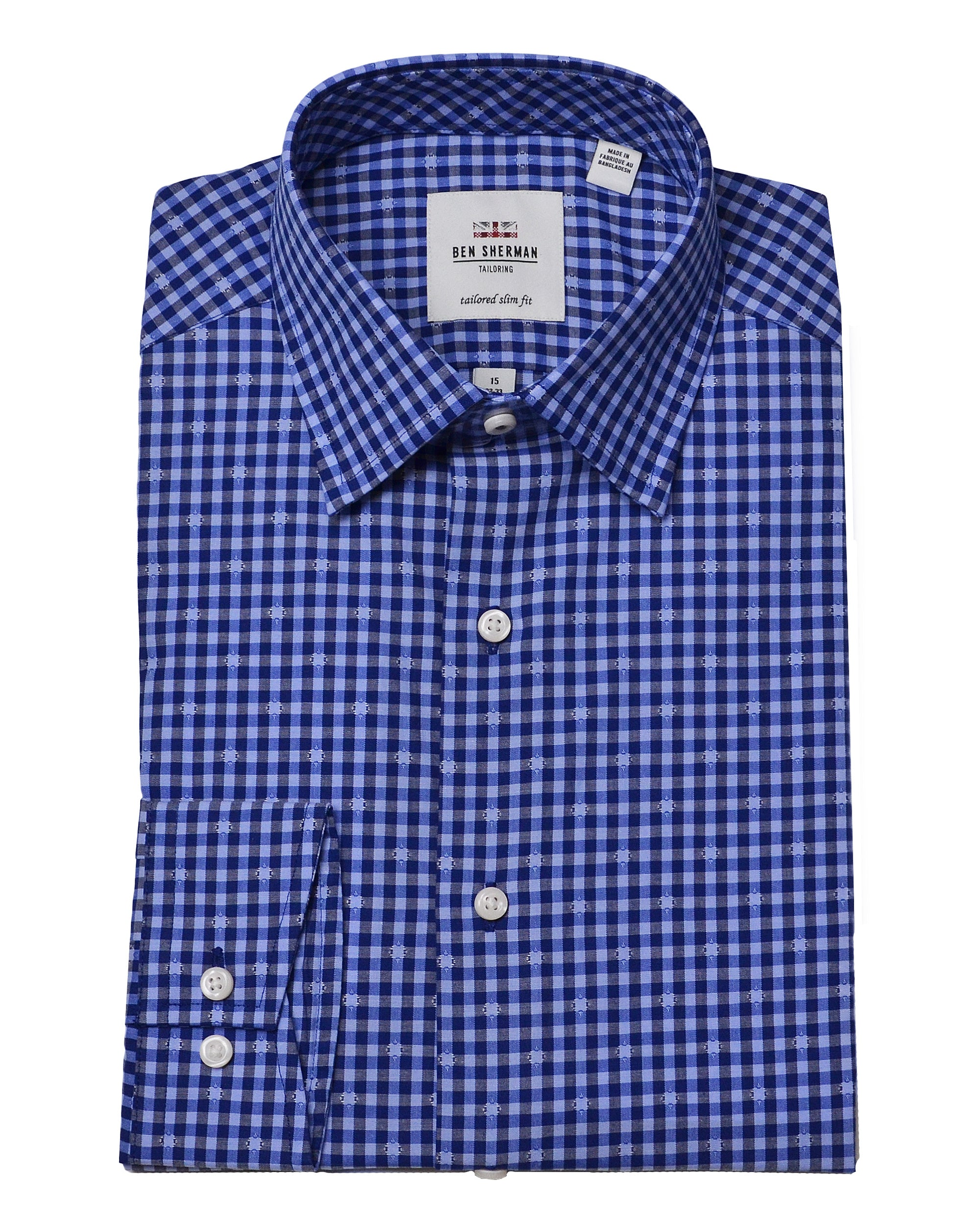Navy & Blue Dobby Gingham Slim Fit Dress Shirt