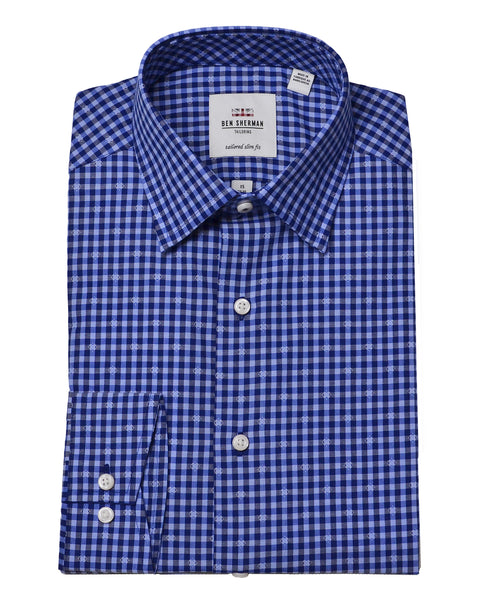 Navy & Blue Dobby Gingham Slim-Fit Dress Shirt