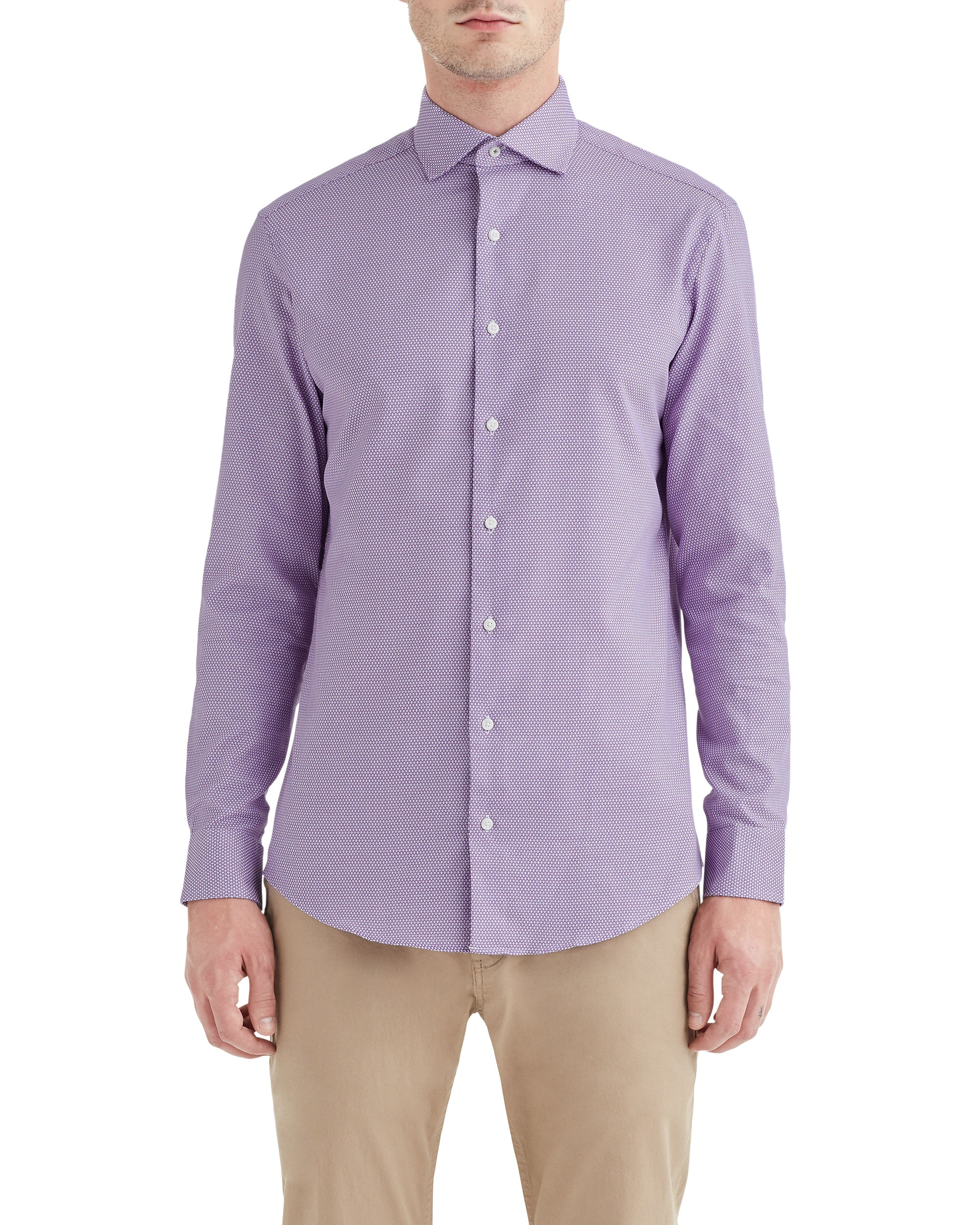 Purple Textured Dobby Slim-Fit Dress Shirt