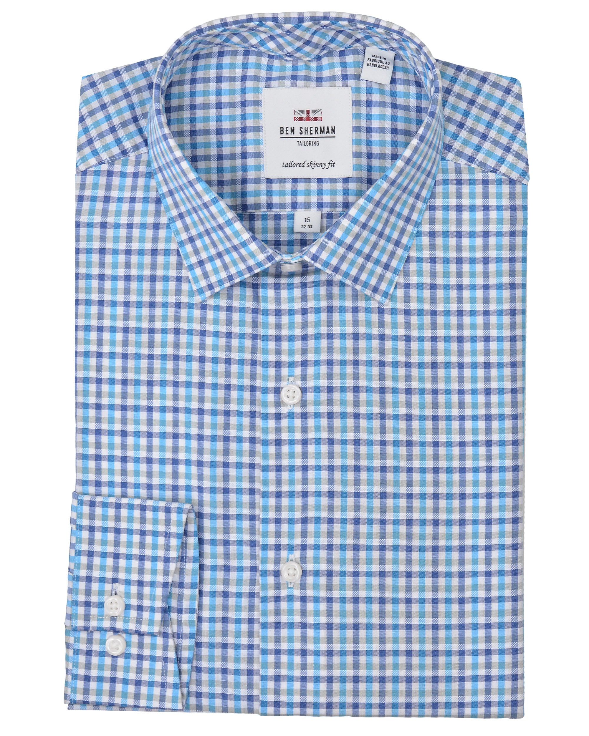Multi Dobby Tattersall Skinny Fit Dress Shirt