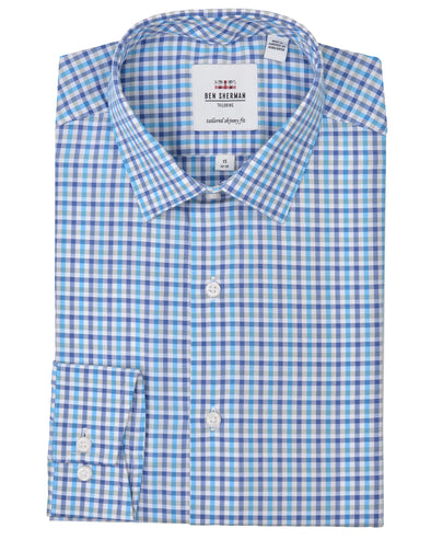 Multi Dobby Tattersall Skinny-Fit Dress Shirt