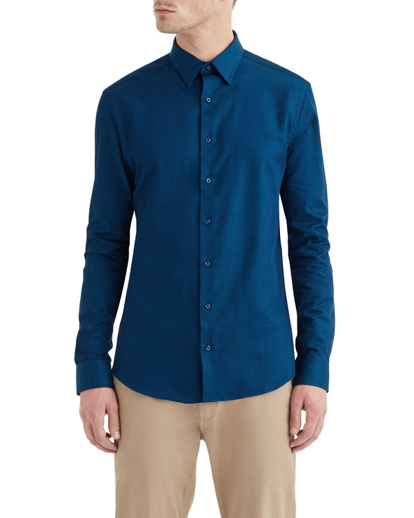 Teal & Navy Solid Dobby Slim-Fit Dress Shirt