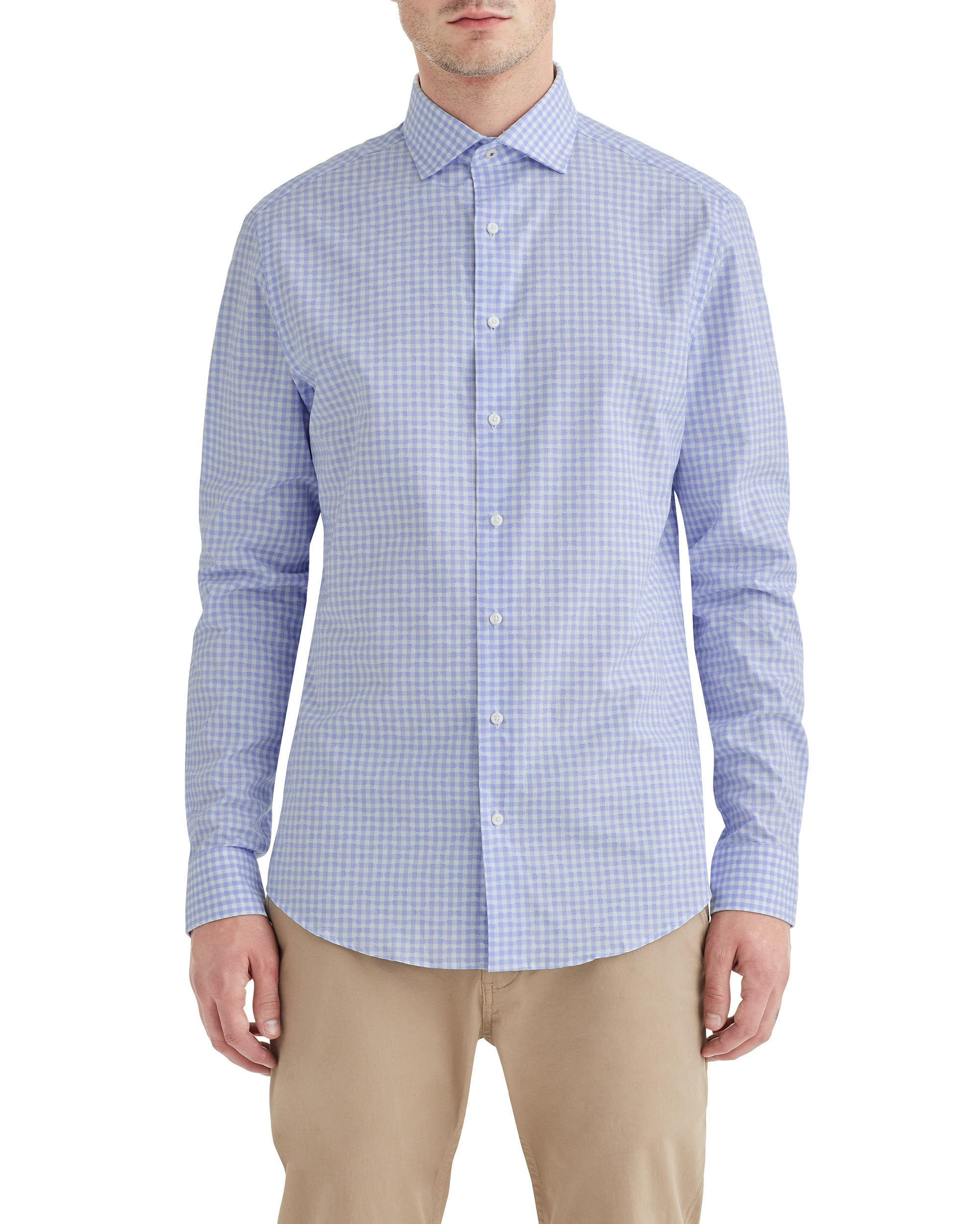 Light Blue EOE Dobby Check Slim-Fit Dress Shirt