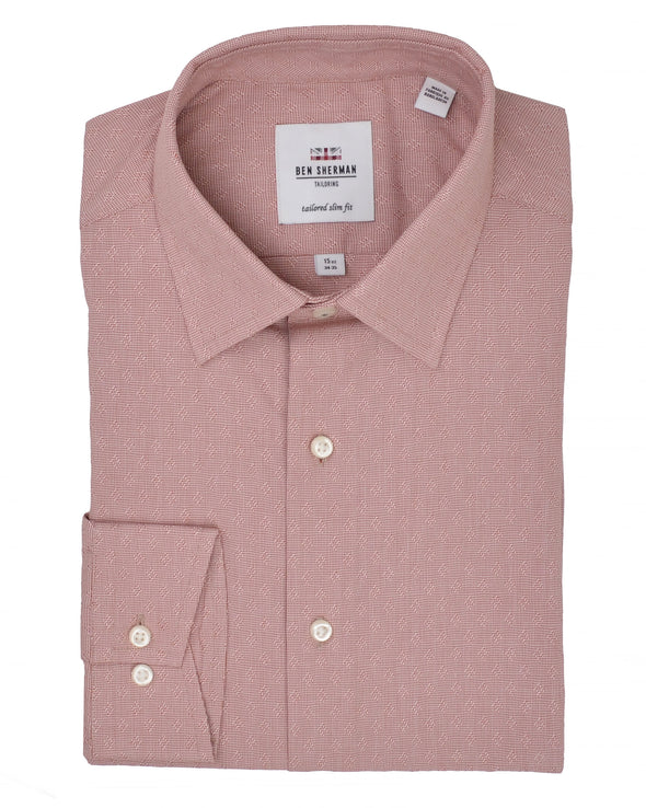 Rust Dobby Puppytooth Slim Fit Dress Shirt