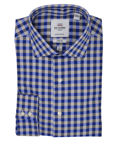 Navy & Tan Herringbone Check Slim-Fit Dress Shirt
