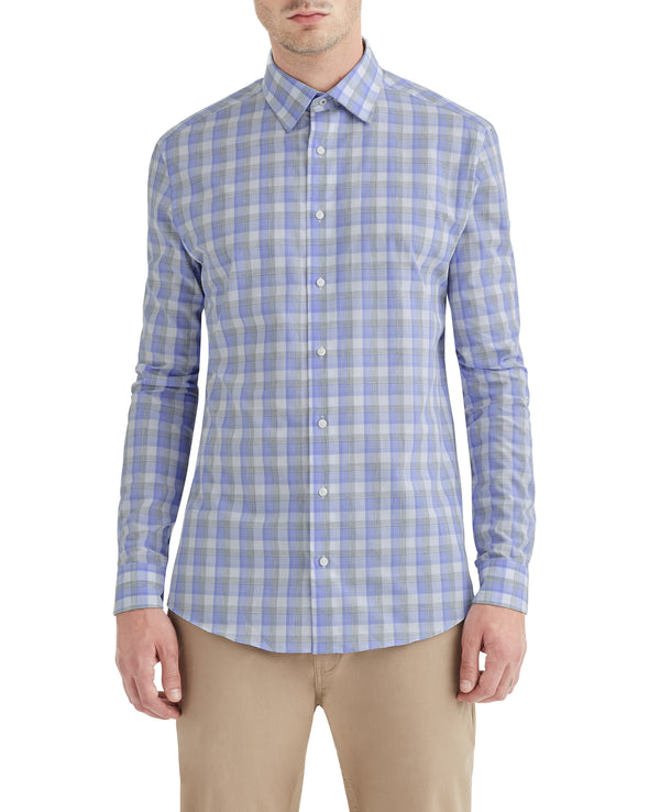 Blue & Grey Heather Check Slim-Fit Dress Shirt