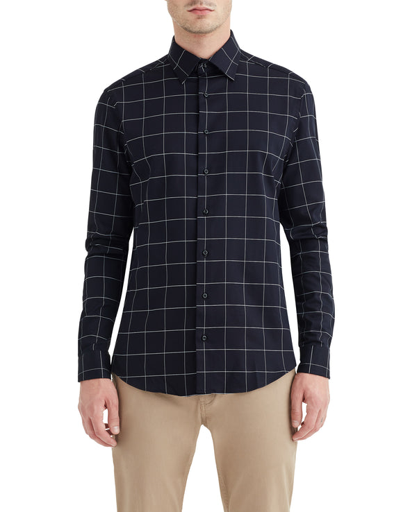 Black Windowpane Check Slim-Fit Dress Shirt