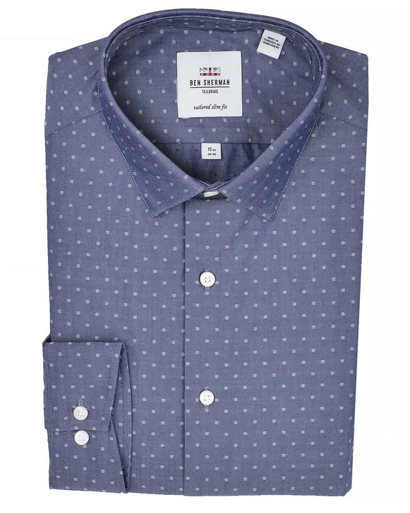 Navy Dot Dobby Chambray Slim-Fit Dress Shirt