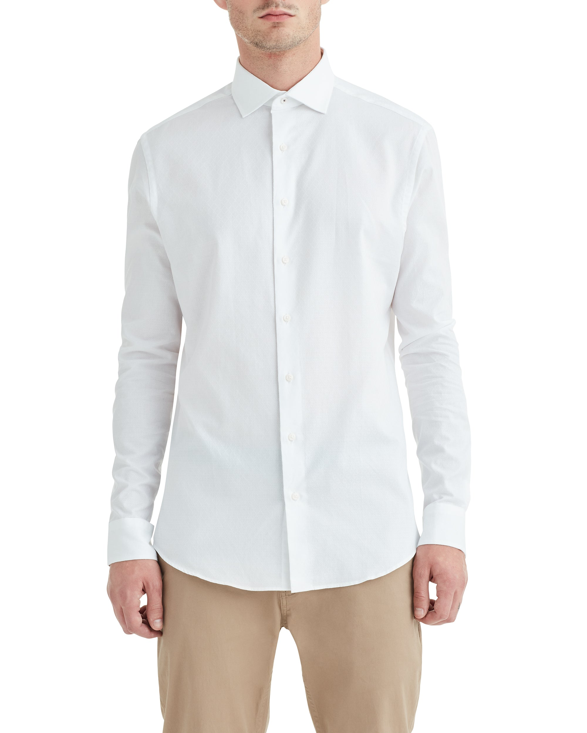 White on White Jacquard Slim Fit Dress Shirt