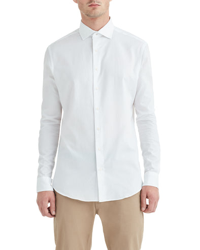 White on White Jacquard Slim-Fit Dress Shirt