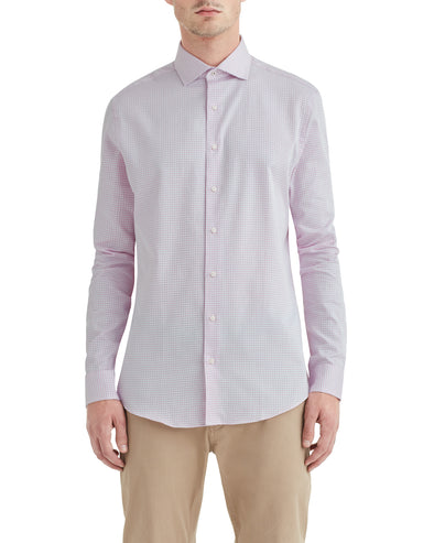 Dusty Rose Dobby Check Slim-Fit Dress Shirt