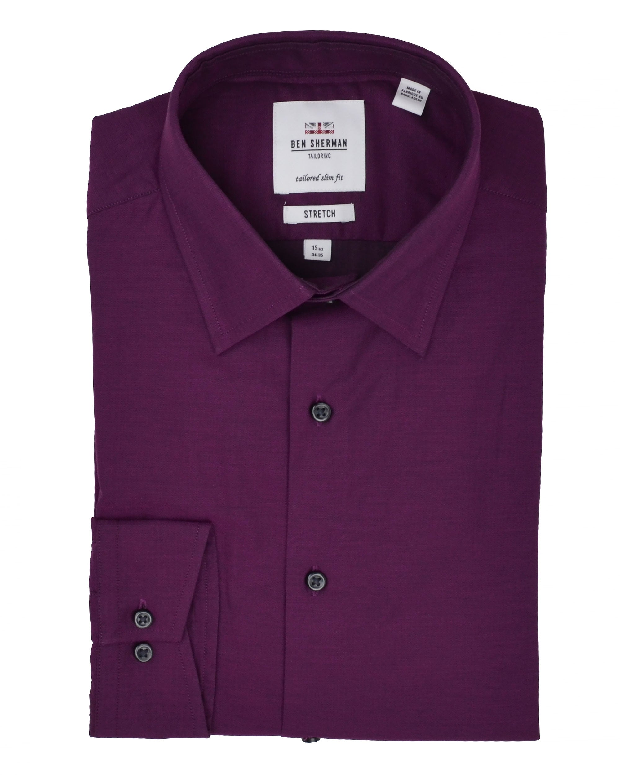 Wine & Navy Tonic Herringbone Slim-Fit Dress Shirt