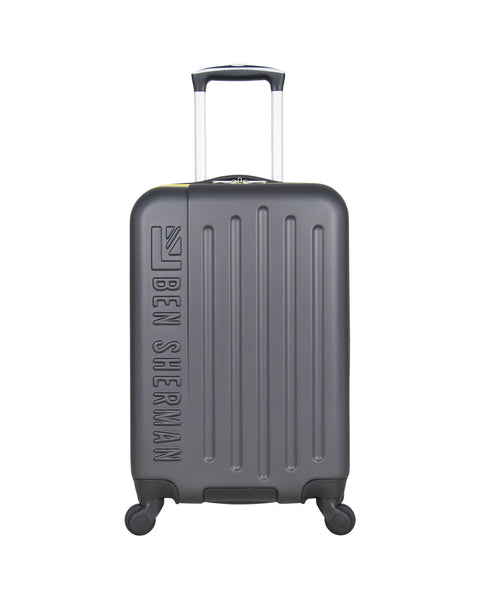 "Leicester 20"" Hardside Embossed Carry-On Luggage - Charcoal/Sulphur"
