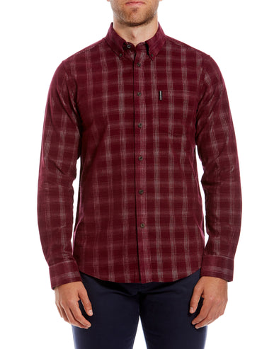 Long-Sleeve Corduroy Check Shirt - Wine